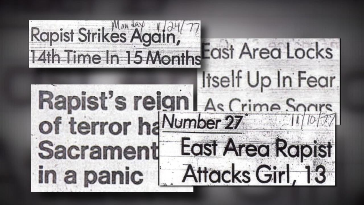 Newspaper headlines from the mid-1970s document the numerous crimes committed by the East Area Rapist, who is accused of raping 45 women and killing 12 people over a decade.