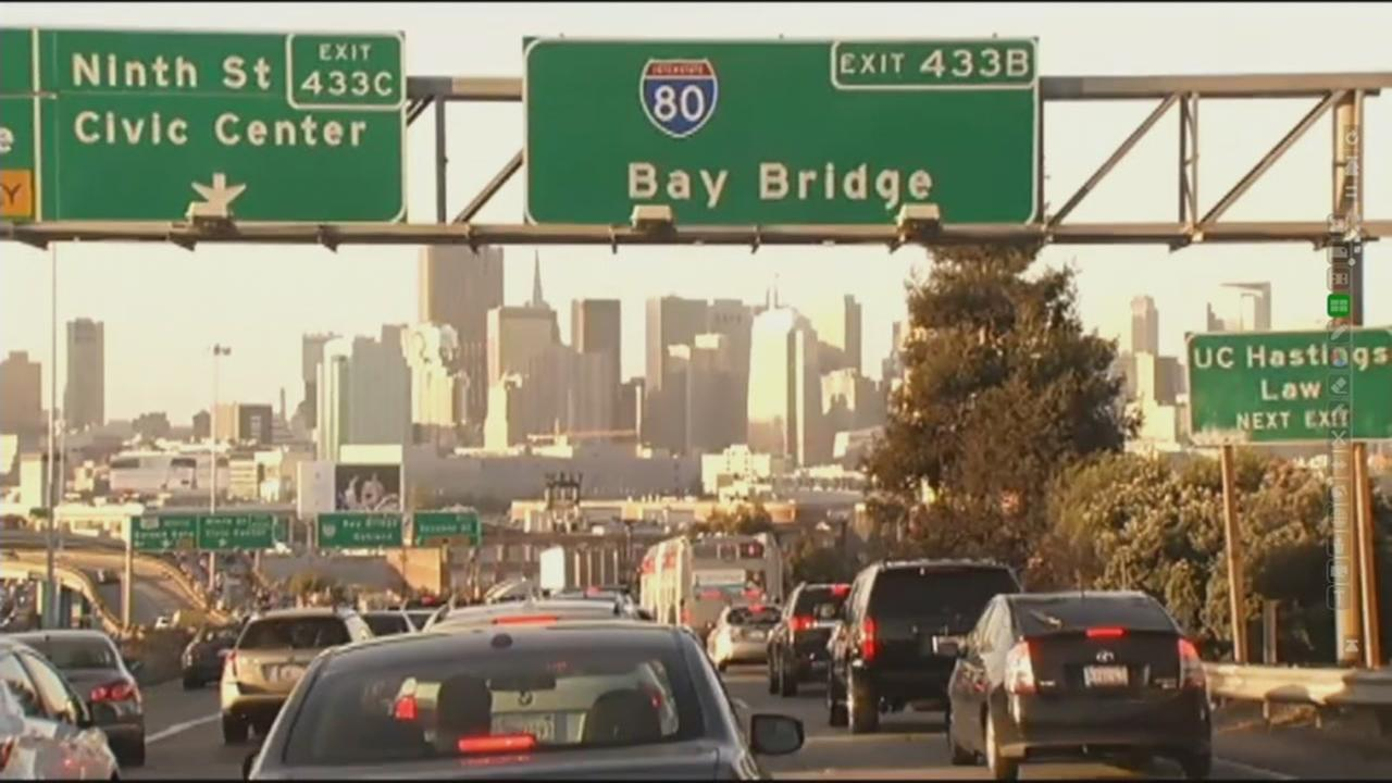 Traffic is pictured heading towards the Bay Bridge in this undated file photo.