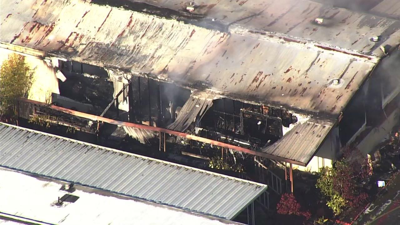 Sky7 is over a fire on Hermitage Street in San Jose, Calif. on Thursday, April 26, 2018.
