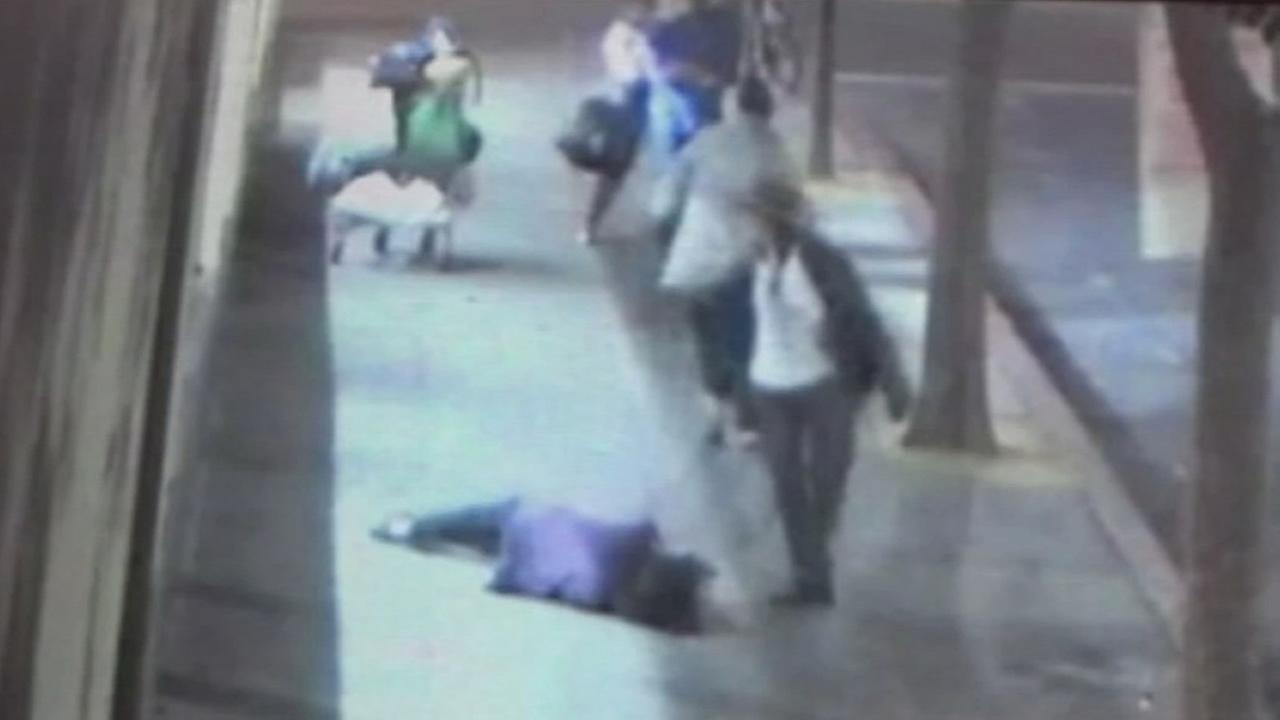 Surveillance video shows elderly woman violently attacked in Berkeley.