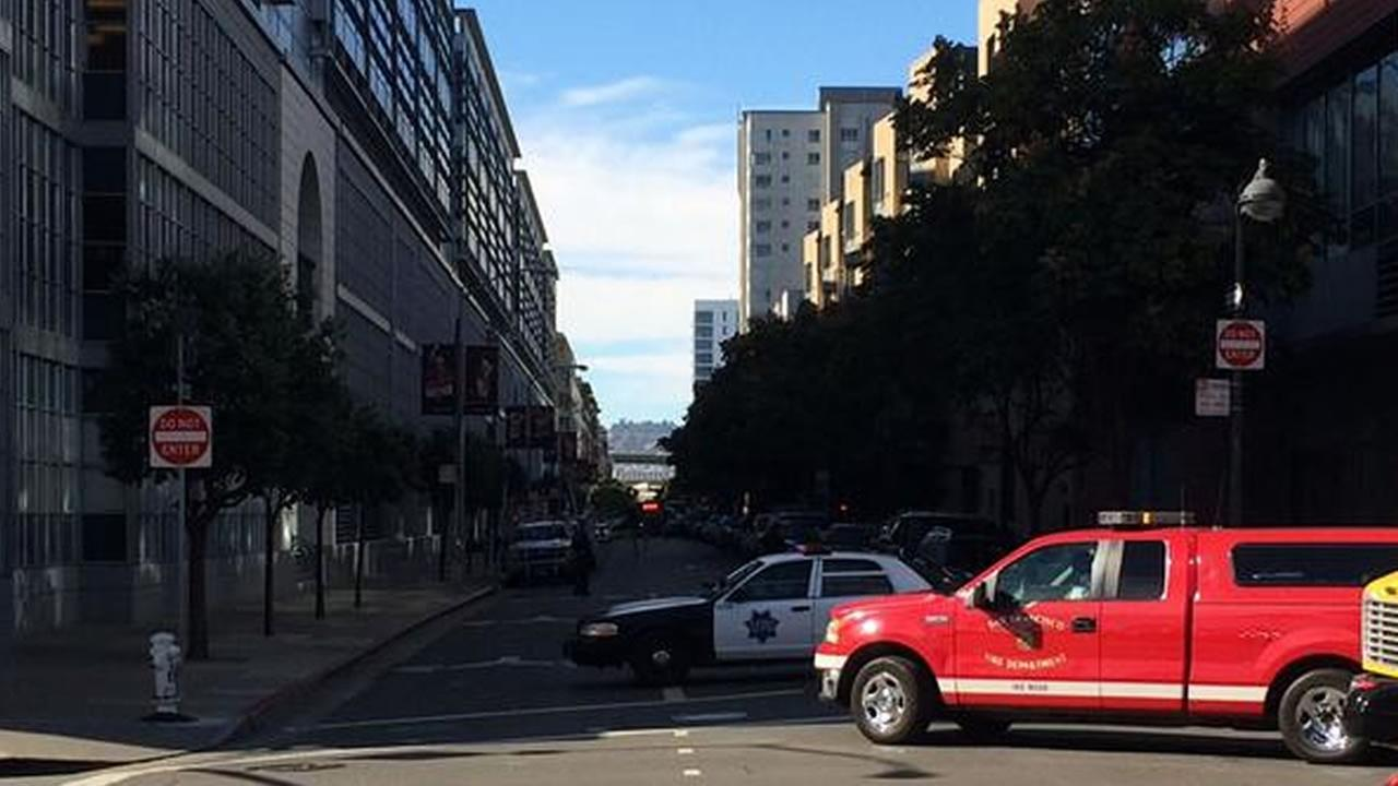 Berry Street was  blocked off near AT&T Park in San Francisco after a nearby building was evacuated.