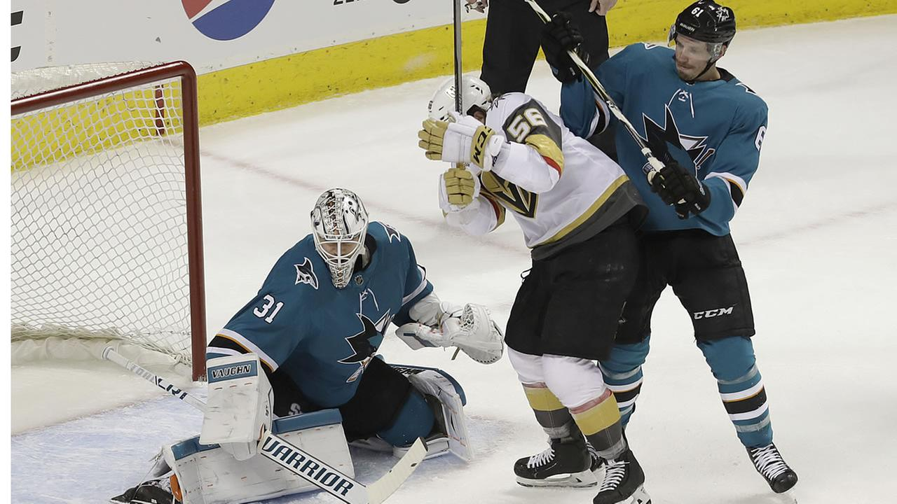 San Jose Sharks goalie Martin Jones blocks the net during the first period of Game 3 of an NHL hockey second-round playoff series in San Jose, Calif., Monday, April 30, 2018.