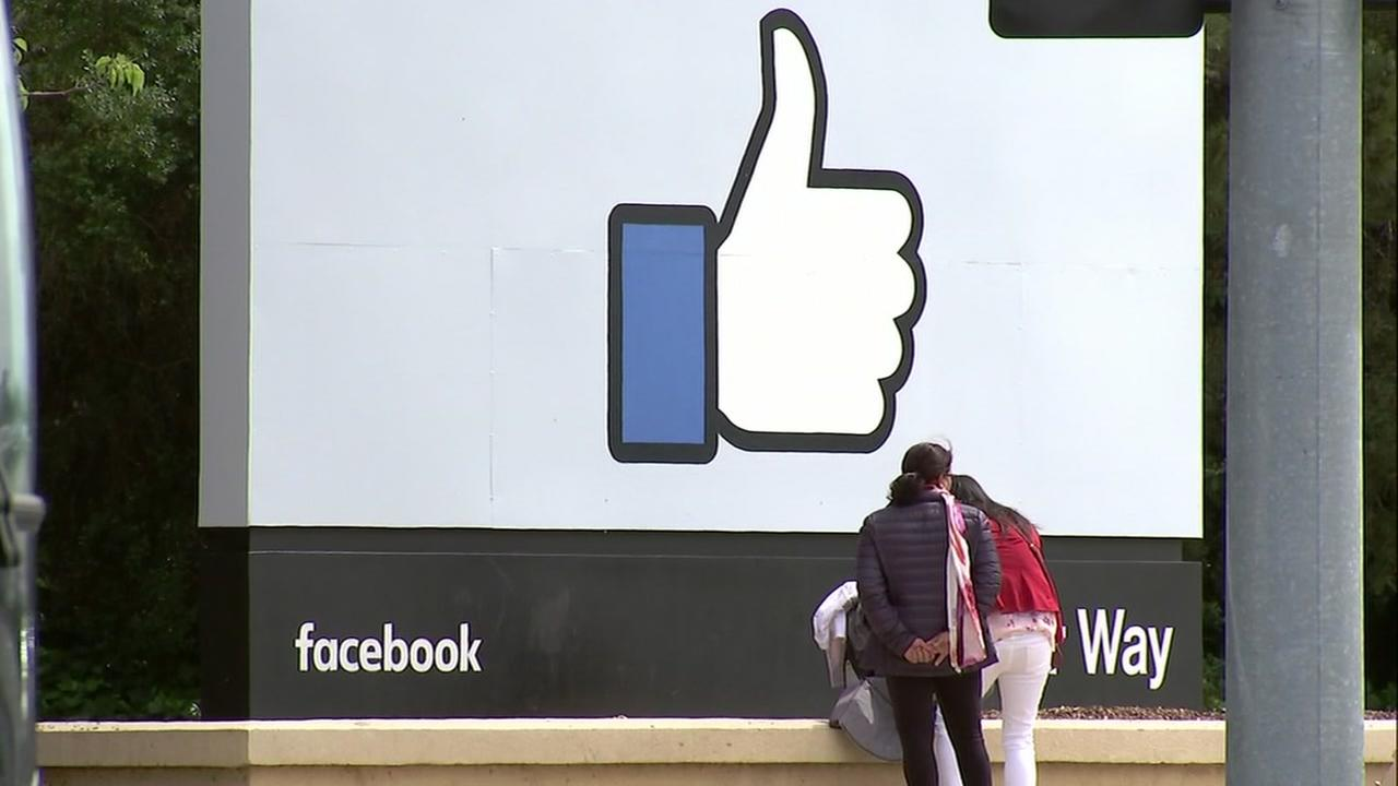 This is an undated image of the like sign in front of Facebooks Menlo Park campus.
