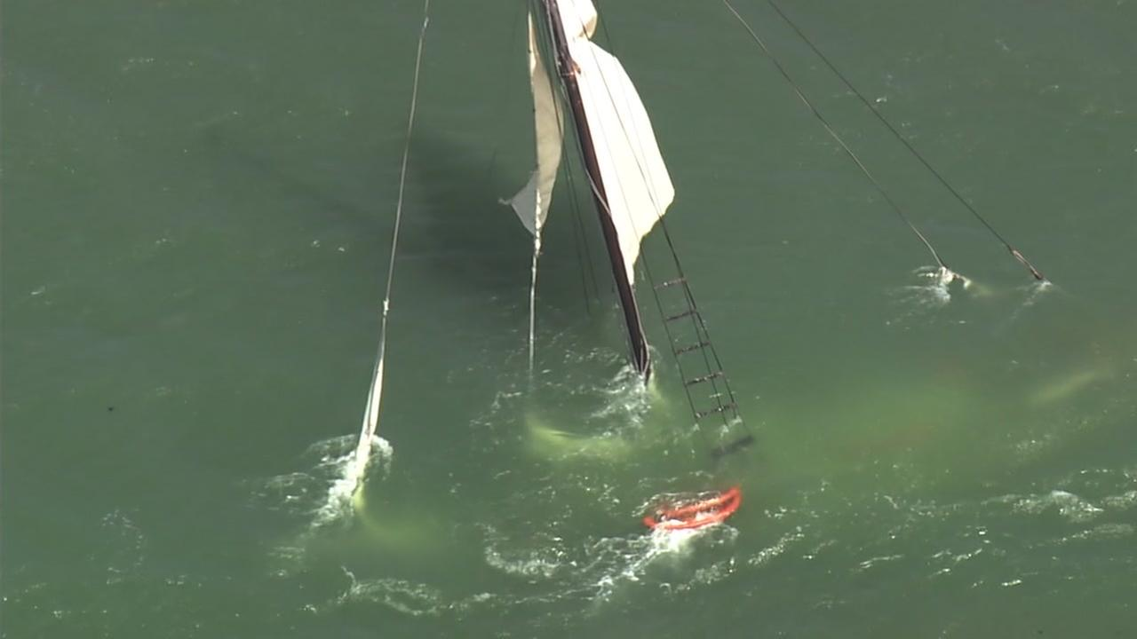 sailboat sinks after being being pulled off beach in pacifica during