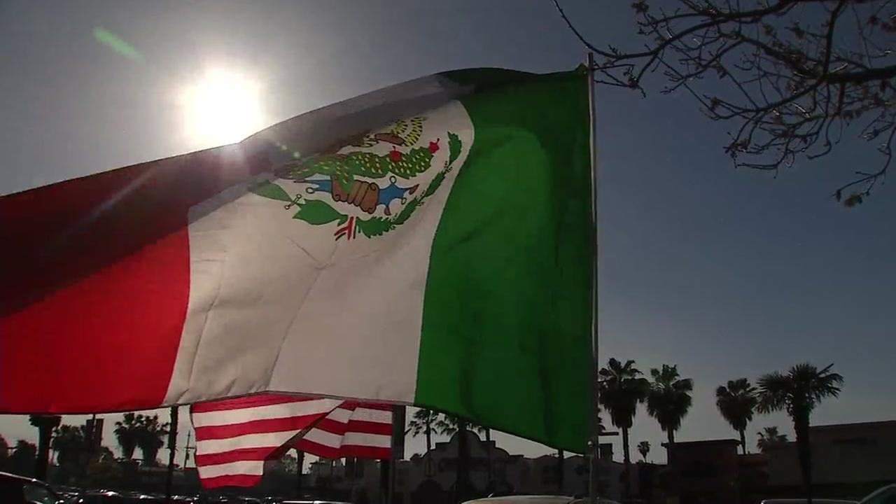 A Mexican flag waves in the wind in San Jose, Calif. on Friday, May 5, 2018.