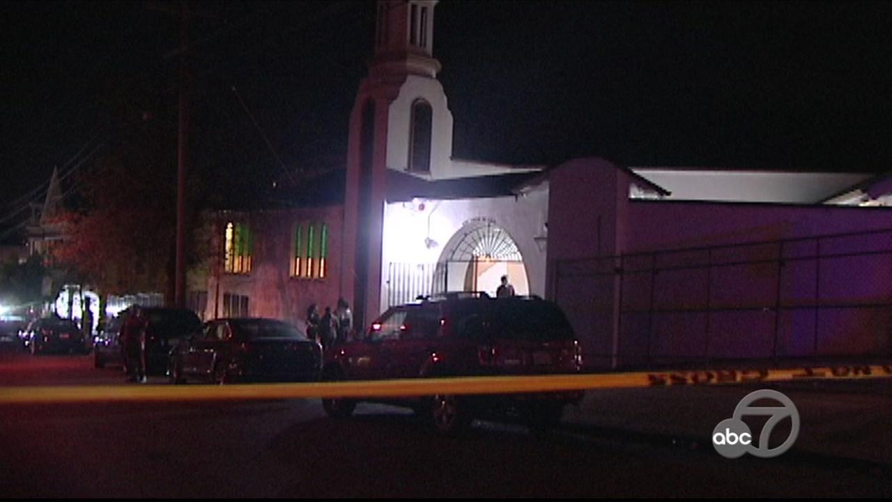 Police at scene of shooting at church in San Francisco, Monday, May 7, 2018.