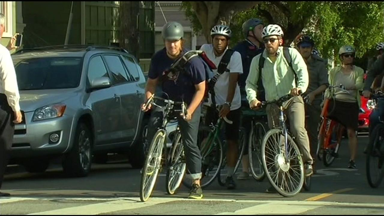 Commuters  bike to work on Bike to Work Day in San Francisco.