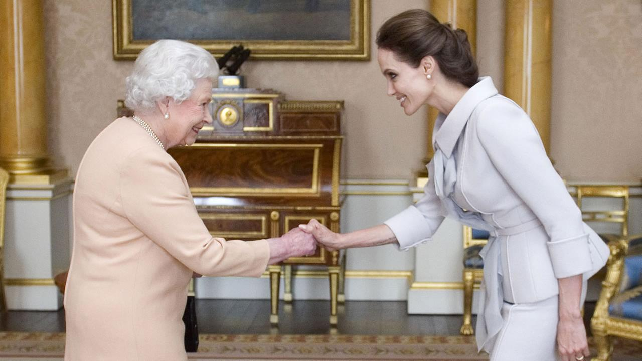 Queen Elizabeth II with Angelina Jolie