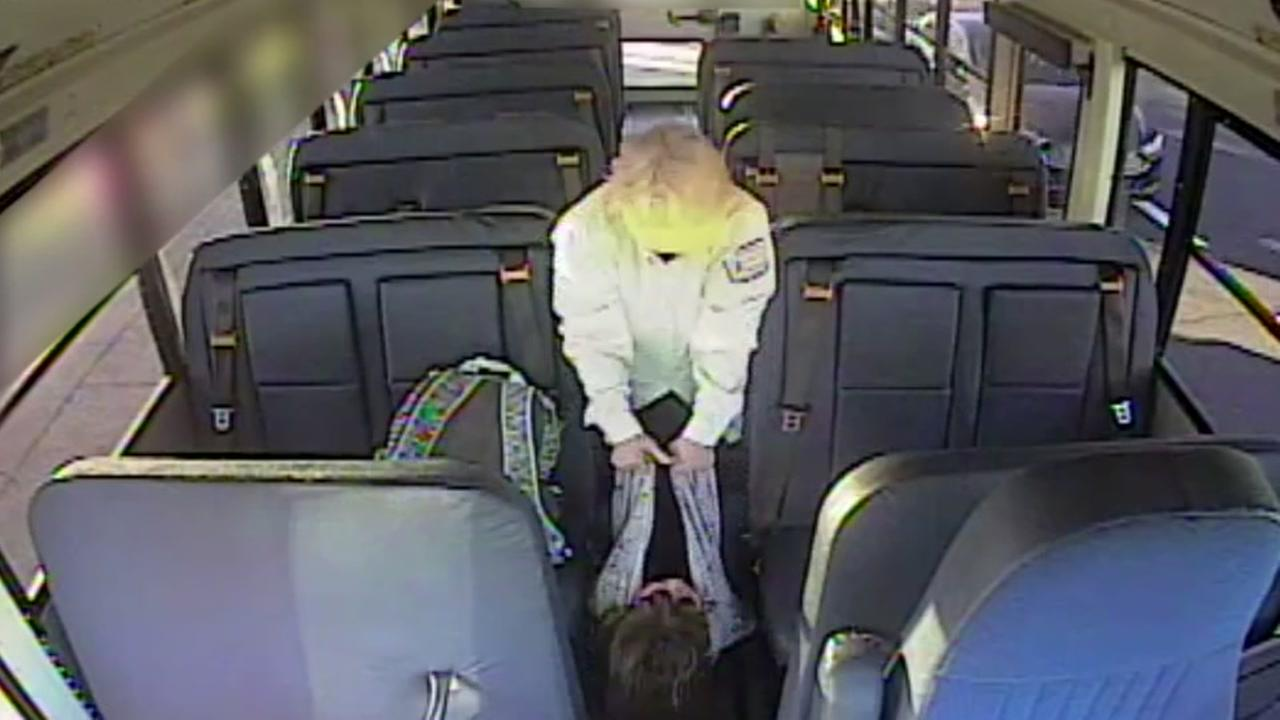 A school bus driver in Vacaville is seen dragging a child with autism in this undated surveillance image.