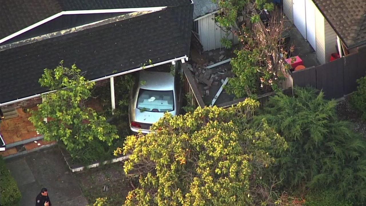 Car slams into house in Redwood City, California on Friday, May 11, 2018.