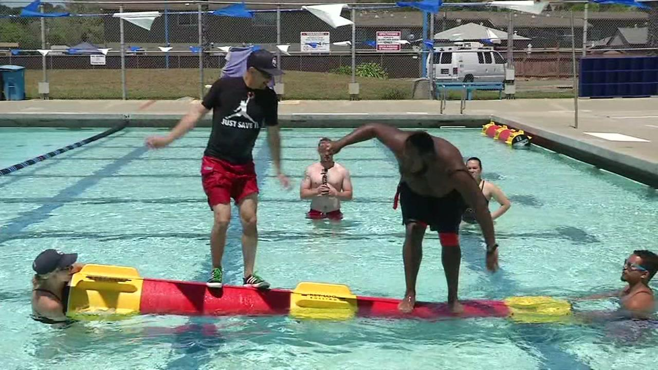 A new, high-tech version of log rolling comes to the Cunningham pool in Vallejo, Calif. on Friday, May 11, 2018,.