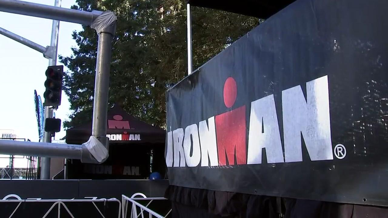 The Ironman race sets up in Santa Rosa, Calif. on Friday, May 11, 2018.