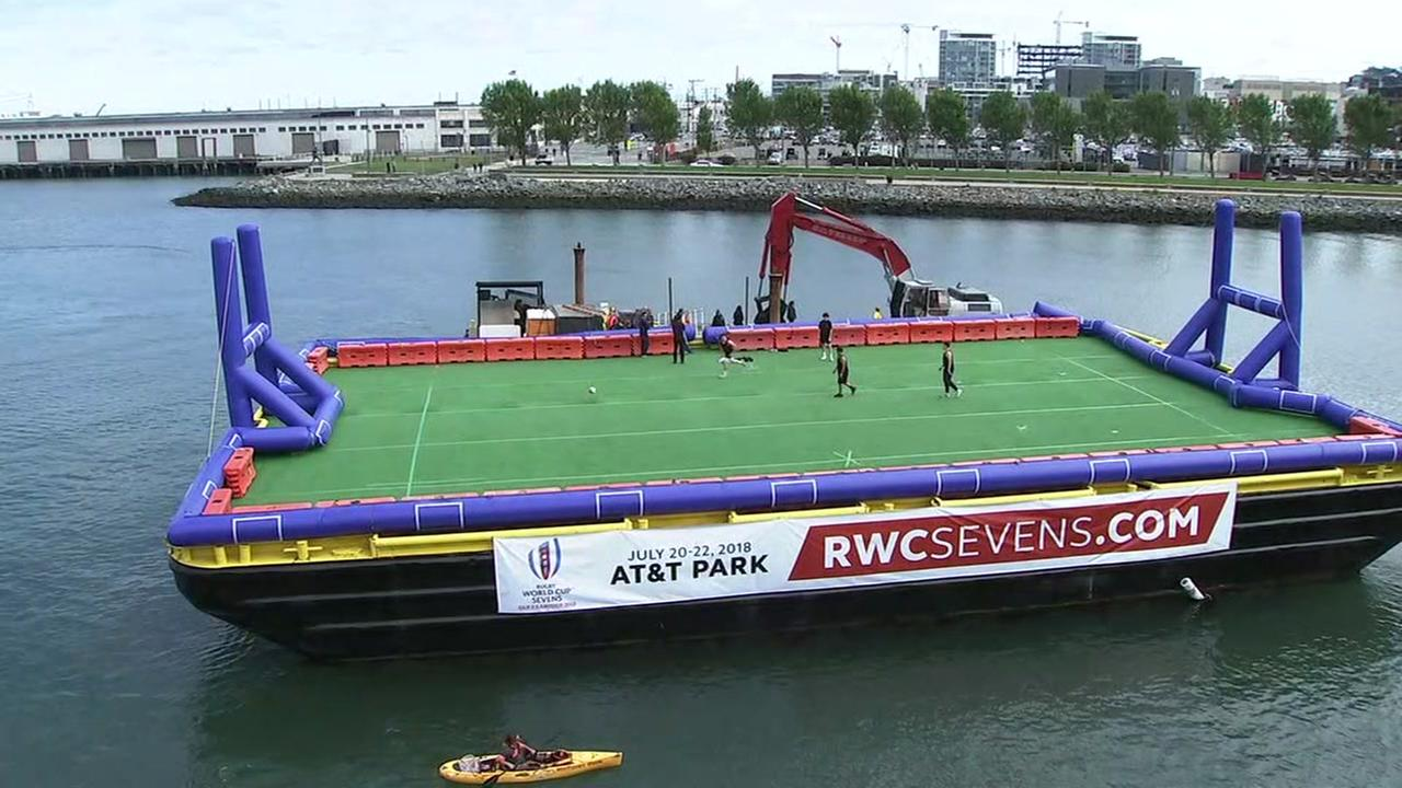 A rugby barge appears outside AT&T Park on Monday, May 14, 2018.