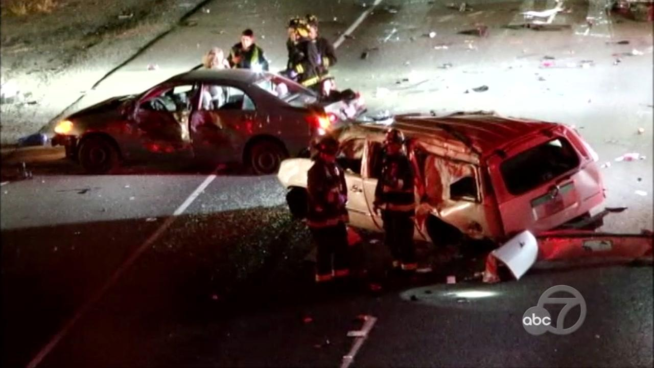 A fatal multi-car crash appears on northbound I-880 in Fremont, Calif.