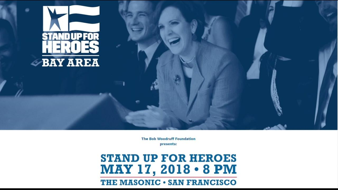 The website for the benefit Stand Up for Heroes is pictured.
