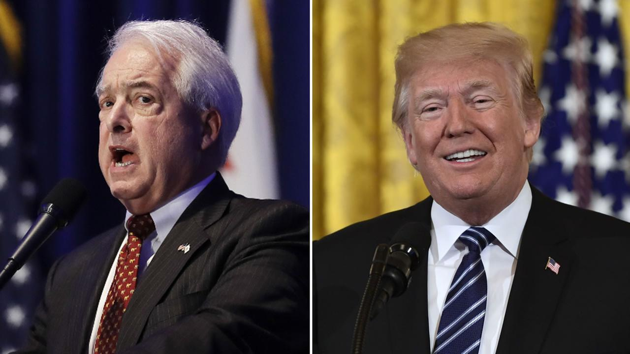 President Donald Trump and California gubernatorial candidate John Cox are pictured.