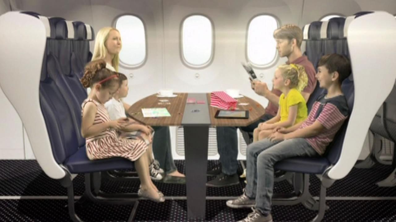 Family sitting on plane