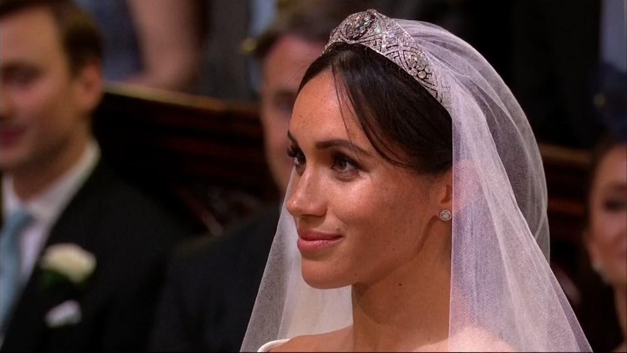 Meghan Markle looks at Prince Harry during the royal wedding ceremony on May 19, 2018, in Windsor, England.