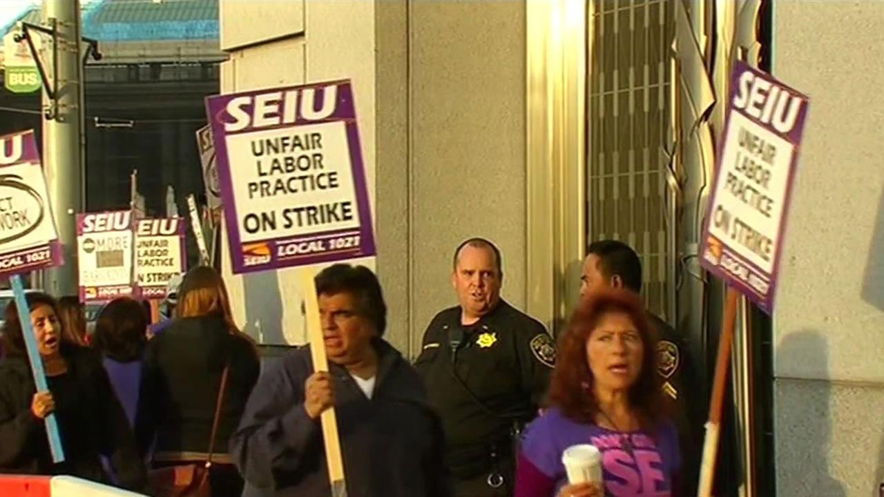 San Francisco Superior Court workers with Service Employees International Union Local 1021 are holding a one-day strike Tuesday.