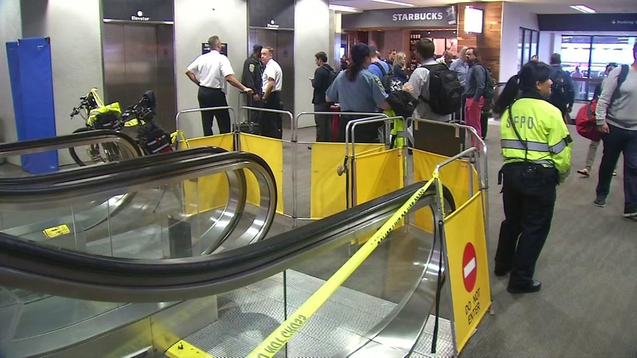 Crews at scene of where man fell to death at San Francisco International Airport, on Monday, May 21, 2018.