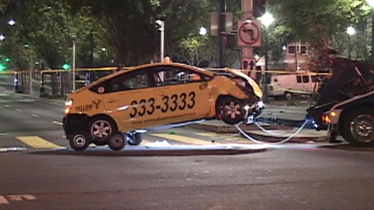 The driver of an SUV is under arrest for a hit and run injury accident involving a taxi cab in San Francisco Tuesday morning.