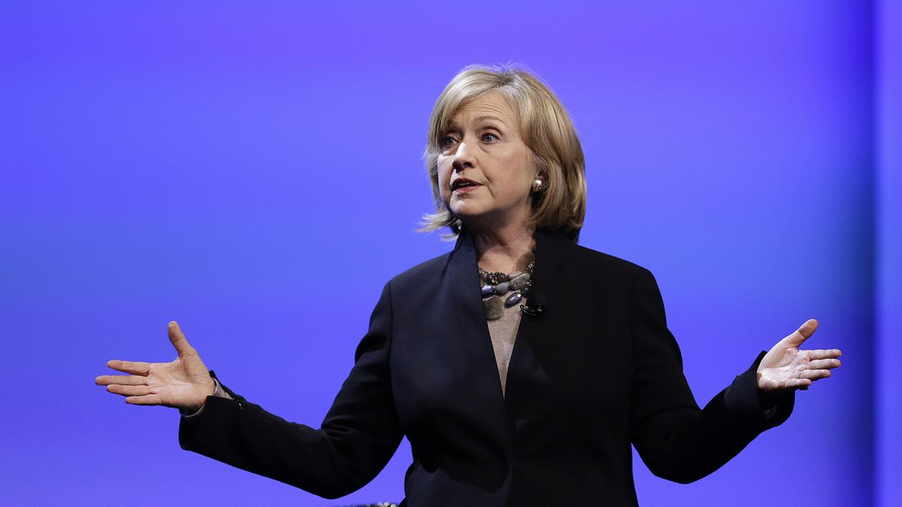 Former U.S. Secretary of State Hillary Rodham Clinton delivers the keynote address at the Dreamforce convention Tuesday, Oct. 14, 2014, in San Francisco. (AP Photo/Ben Margot)