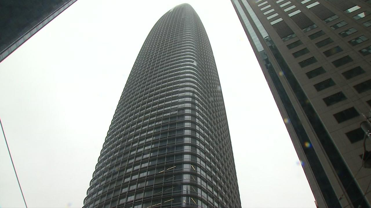 This is an undated image of the Salesforce Tower in San Francisco.
