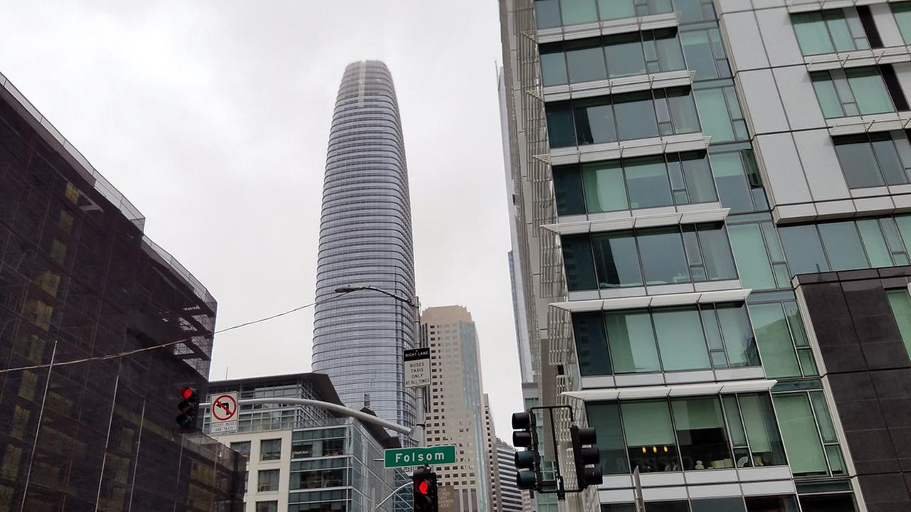 The Salesforce Tower looms over the San Francisco skyline as seen from Folsom and Fremont Streets.