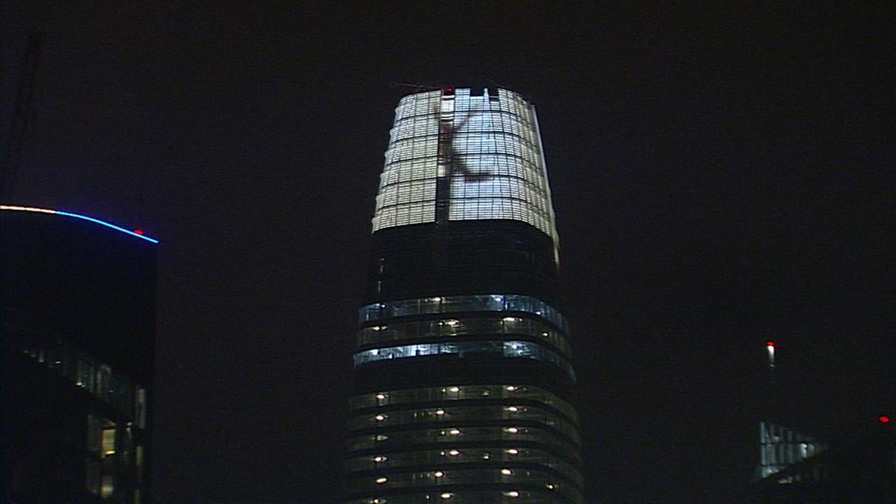 The light installation at the crown of Salesforce Tower is pictured in San Francisco.