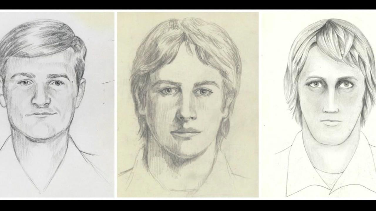 These undated images show police sketches of the Golden State Killer.