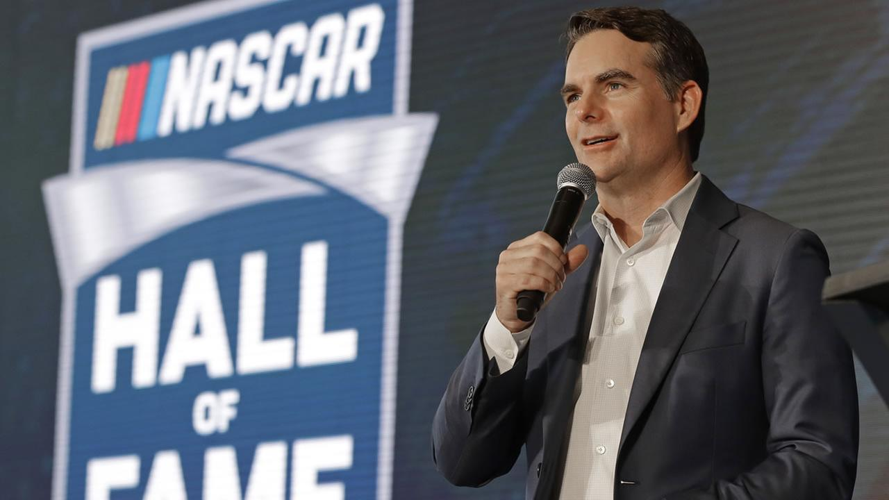 Jeff Gordon speaks to the media after being named to the 2019 class of the NASCAR Hall of Fame, in Charlotte, N.C., Wednesday, May 23, 2018.