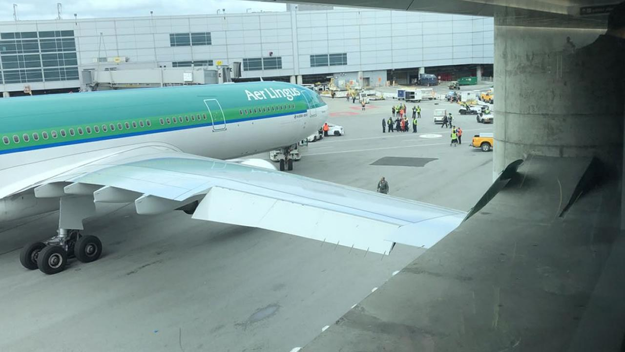 An Aer Lingus Flight from Dublin hit a building while being towed to a gate at SFO on Wednesday, May 23, 2018.