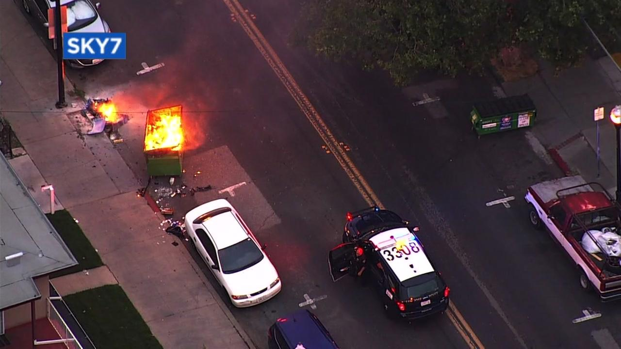 Sky7 was over a dumpster fire in downtown San Jose, Calif. on Thursday, May 24, 2017.