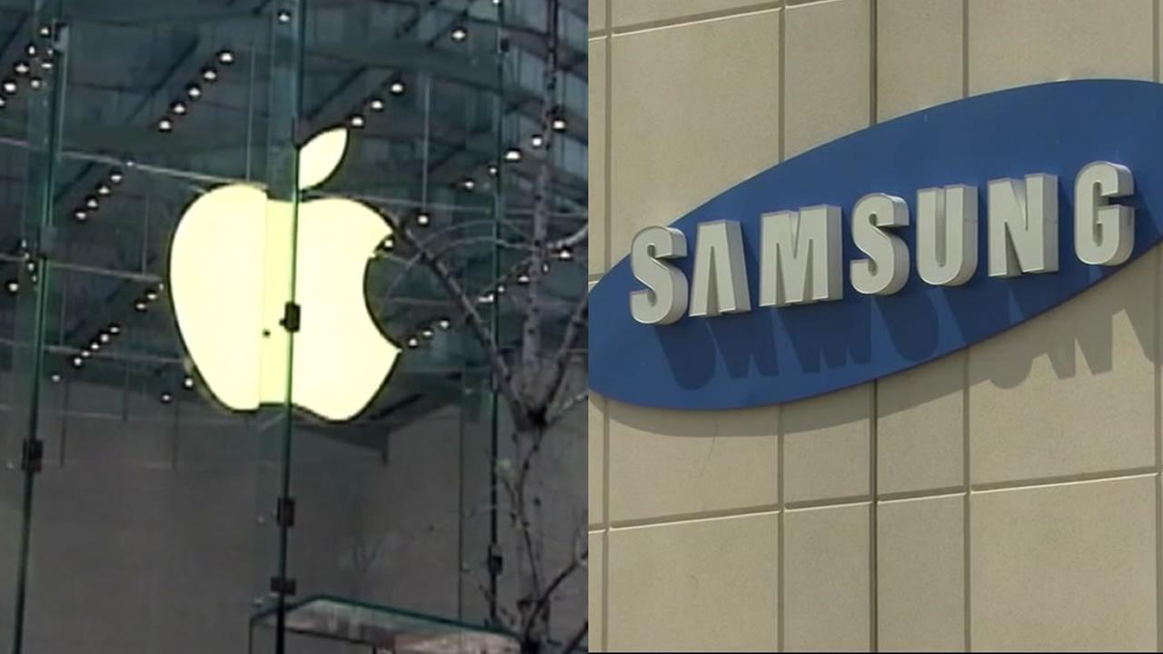 The Apple and Samsung graphics are pictured next to each other in undated file photos.