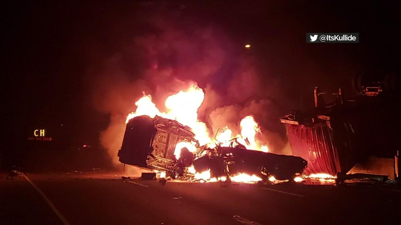 Big rig fire in Crockett, California on Friday, May 25, 2018.