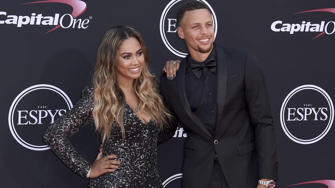 NBA basketball player Stephen Curry of the Golden State Warriors, right, and Ayesha Curry arrive at the ESPYS at the Microsoft Theater on Wednesday, July 12, 2017, in Los Angeles.