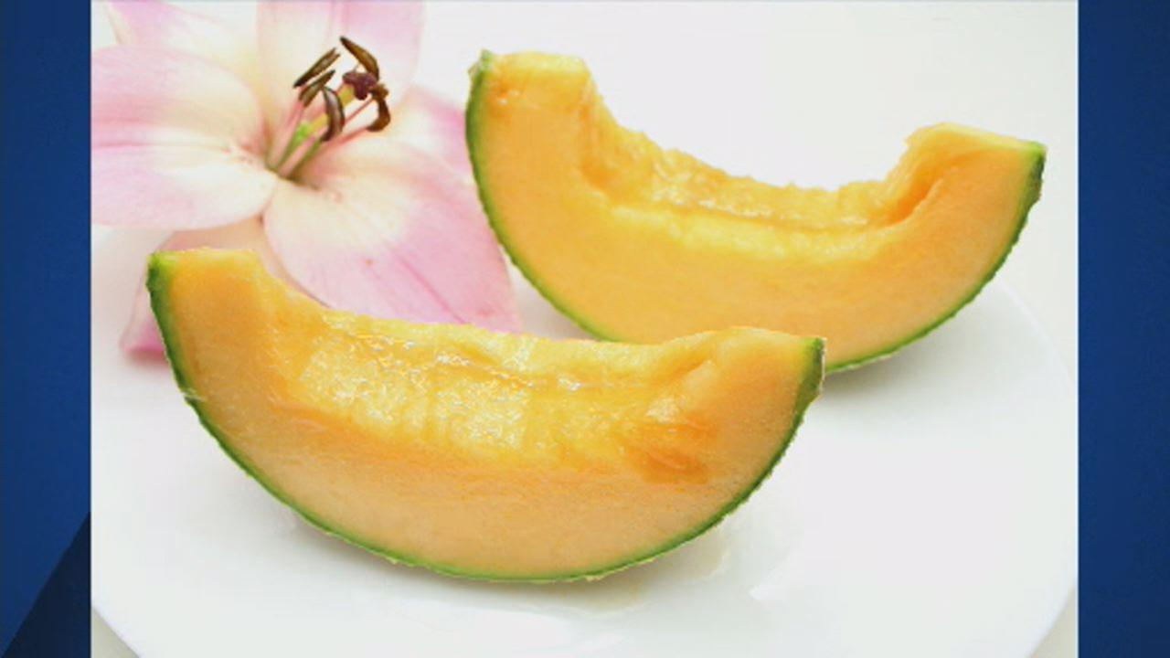 This undated image shows two pieces of Yubari melon.