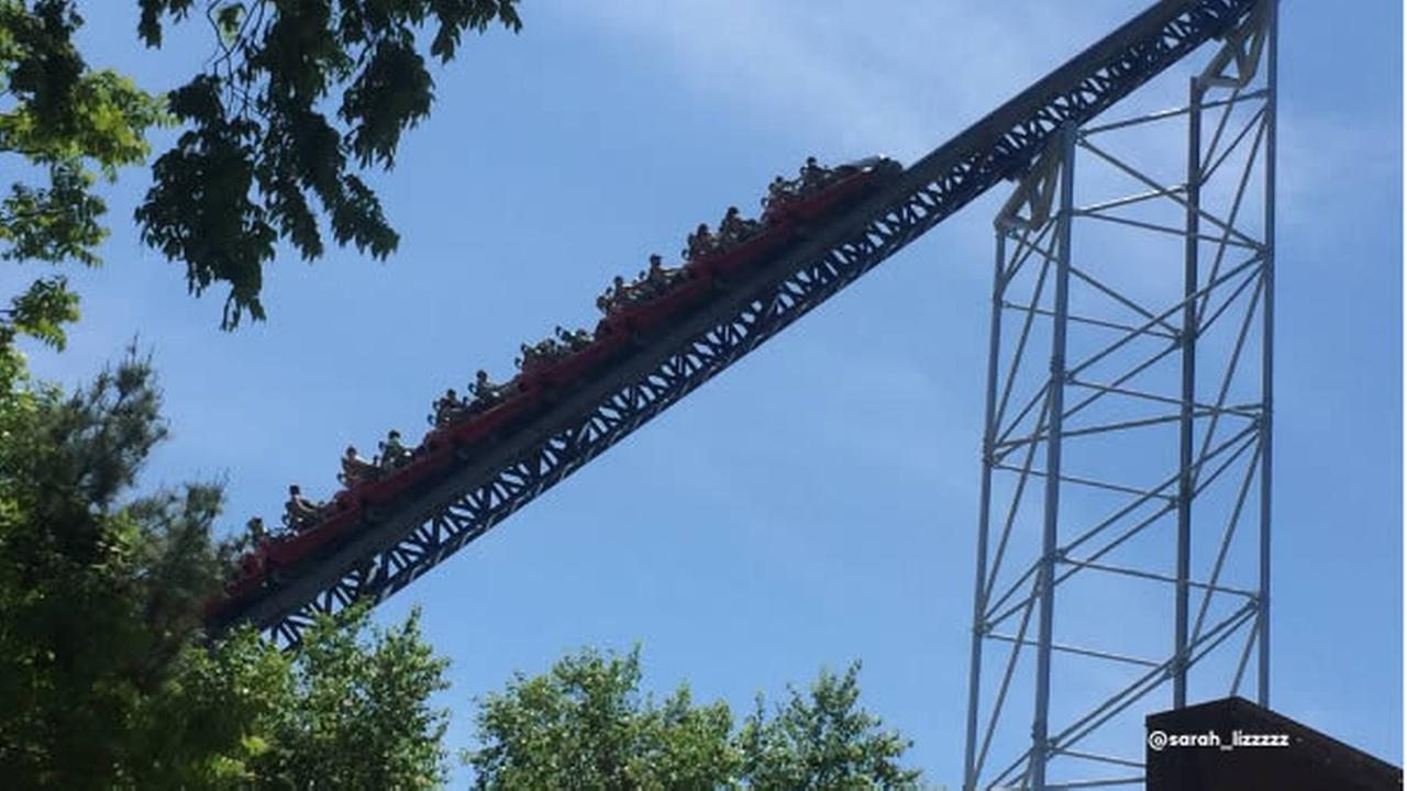 Riders are seen stuck on a roller coaster at Cedar Point in Ohio after a power outage on Monday, May 28, 2018.