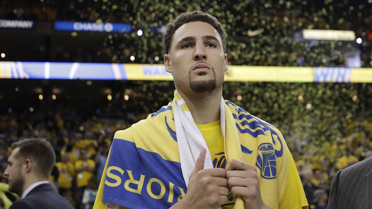 Warriors guard Klay Thompson is interviewed after Game 6 of the NBA Western Conference Finals between the Warriors and Houston Rockets in Oakland, Calif., Saturday, May 26, 2018.