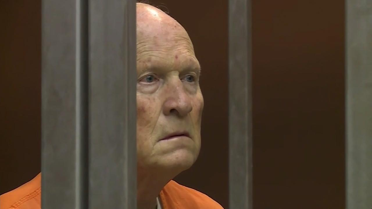 Joseph James DeAngelo, 72, stood silent inside a cage in a Sacramento, Calif. court on Tuesday, May 29, 2018.