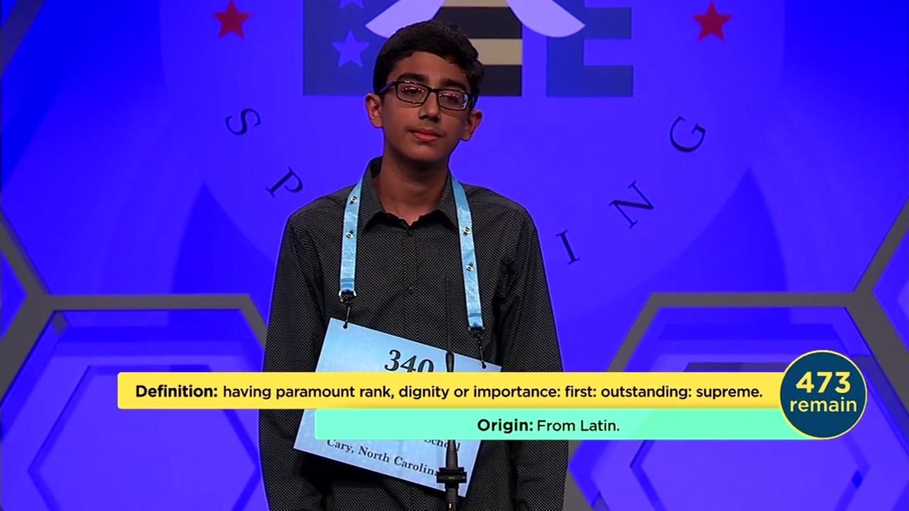 A student spells a word on the second day of preliminaries for the Scripps National Spelling Bee on Tuesday, May 29, 2018.
