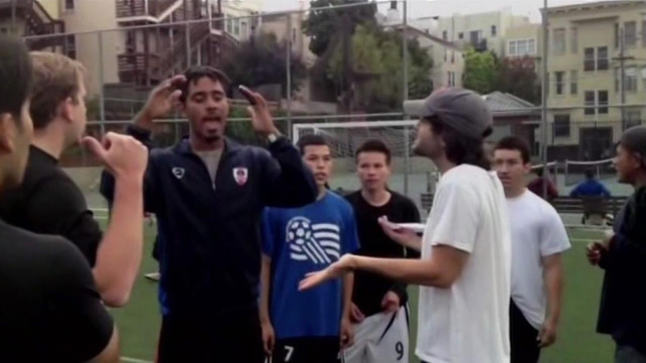 Locals and high tech guys from Dropbox get into an argument over a soccer field in San Francisco.