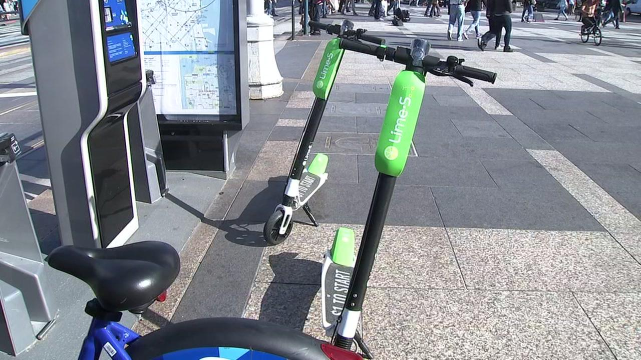 Electric scooters are seen in San Francisco in this undated image.