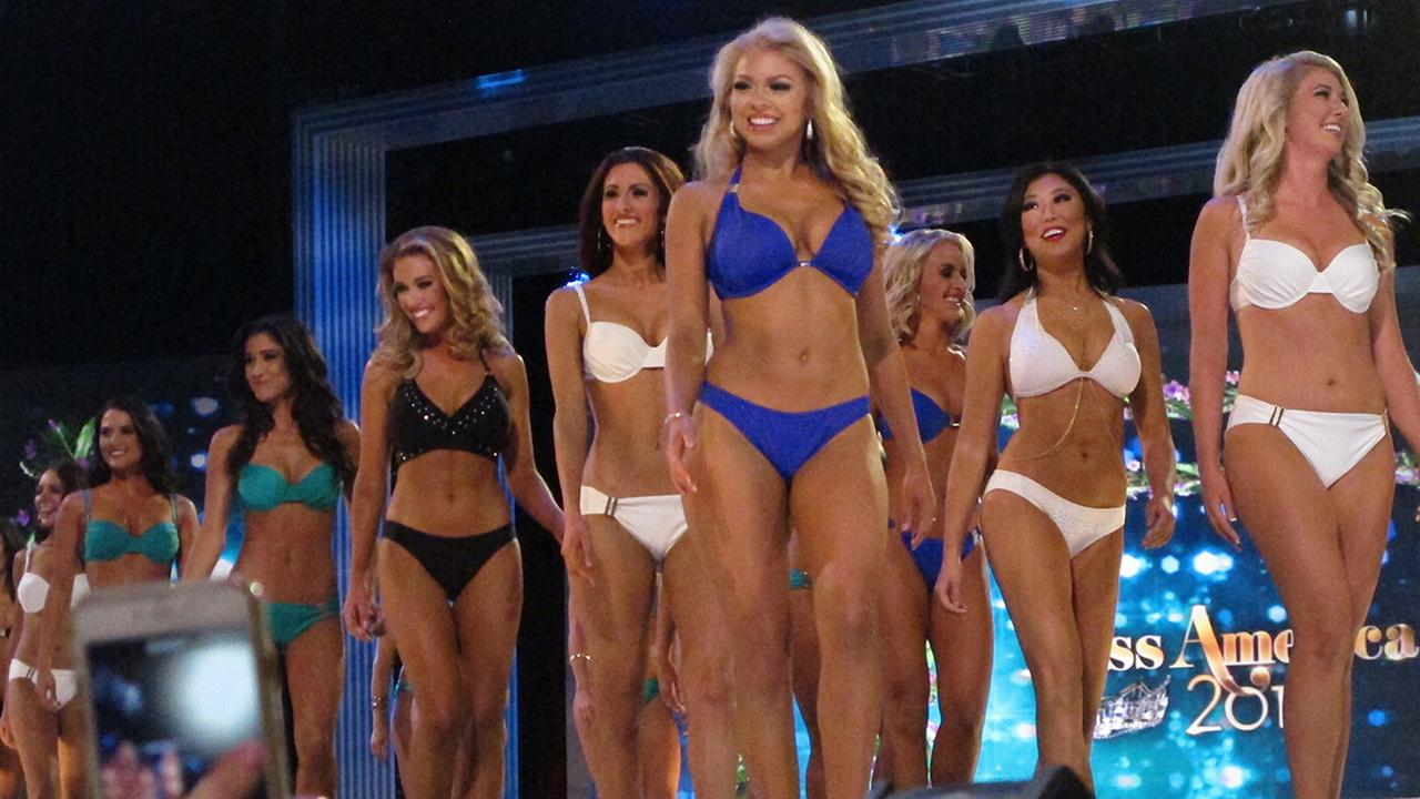Contestants take stage for the swimsuit competition during the second night of preliminary competition in the Miss America pageant on Wednesday, Sept. 7, 2016, in Atlantic City.