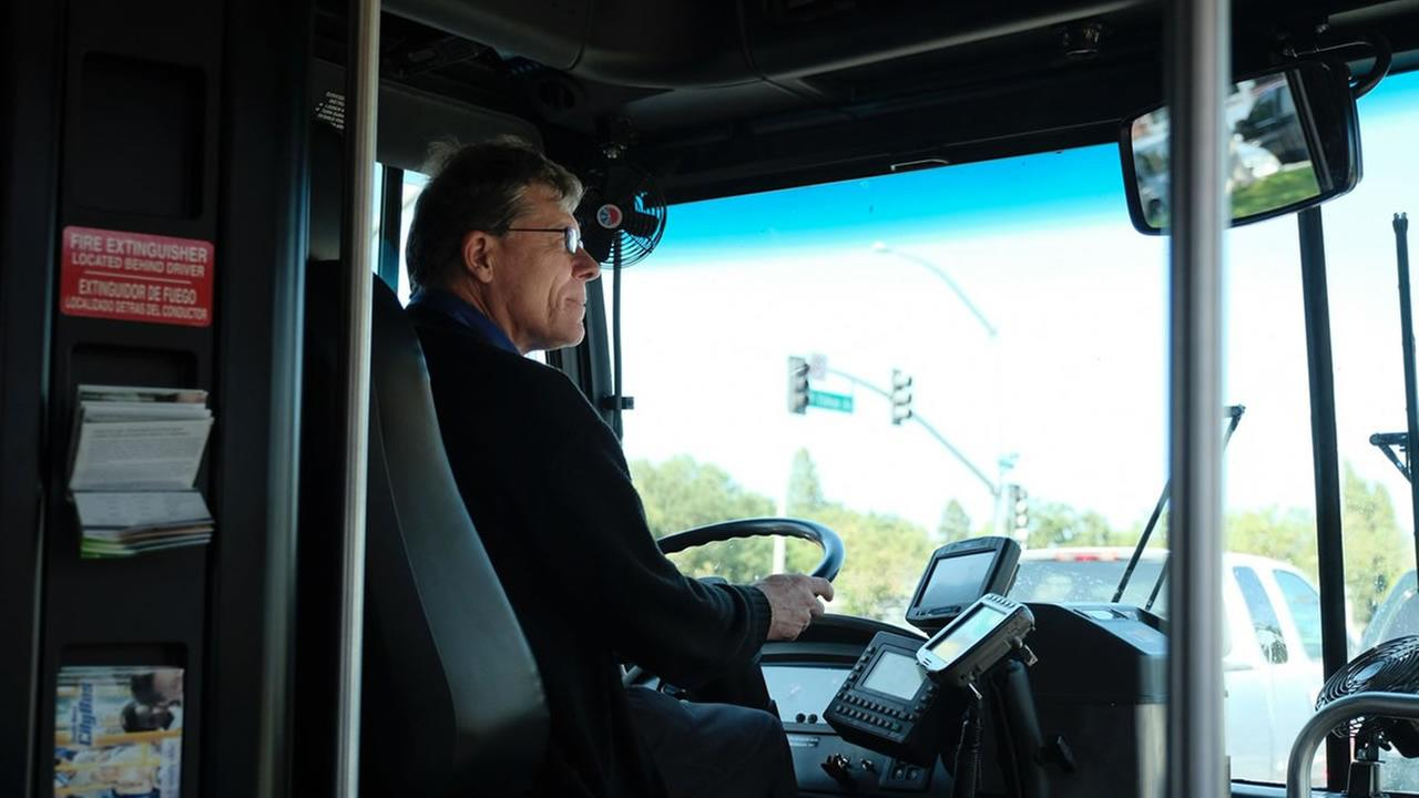 A bus driver appears in Santa Rosa, Calif. on Wednesday, June 6, 2018.