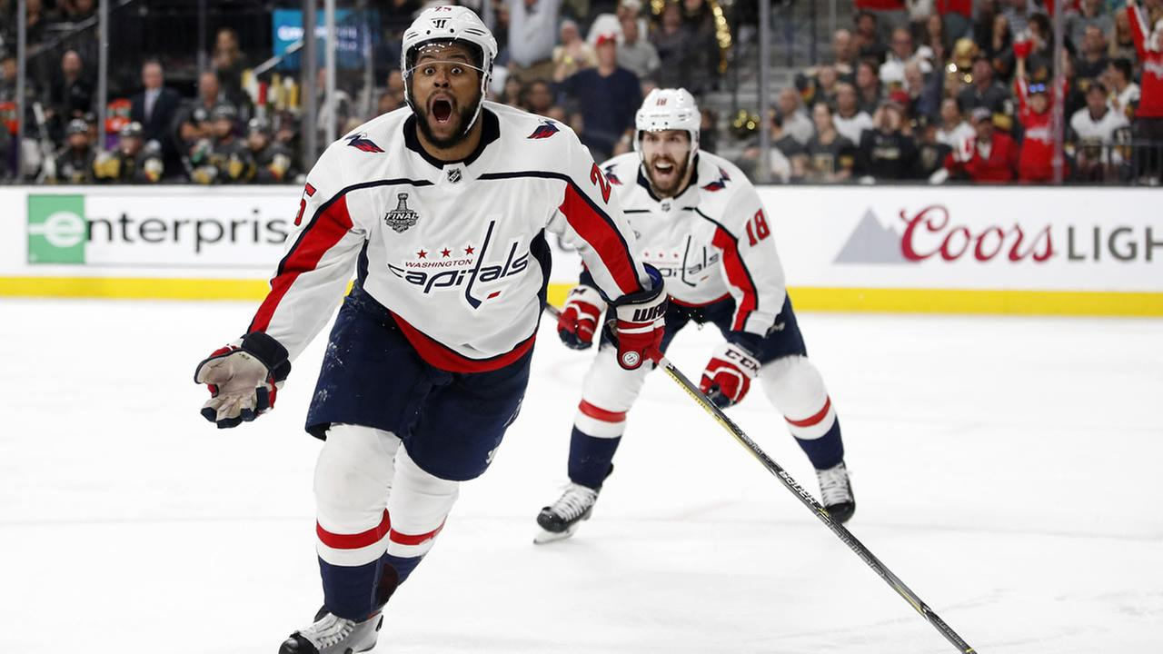 Capitals right wing Devante Smith-Pelly,  celebrates his goal during the third period in Game 5 of the Stanley Cup Finals on Thursday, June 7, 2018, in Las Vegas.