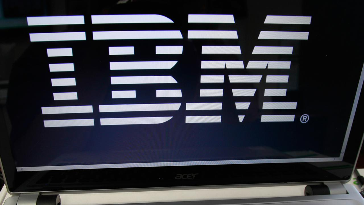 In this Tuesday, July 16, 2013, photo, an IBM logo is displayed in Berlin, Vt. The company reports quarterly earnings on Wednesday, July 17, 2013.