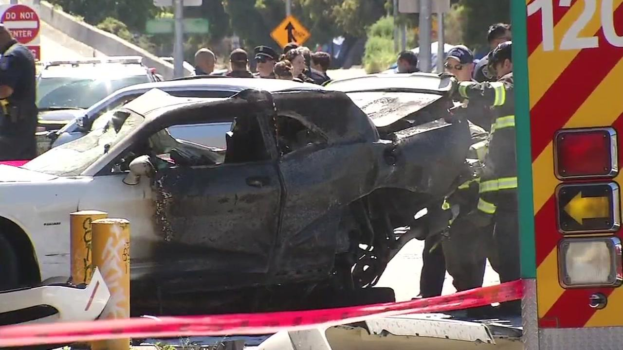 At least one person was killed in a fiery crash after a police pursuit in Emeryville, Calif. on Sunday, June 10, 2018.