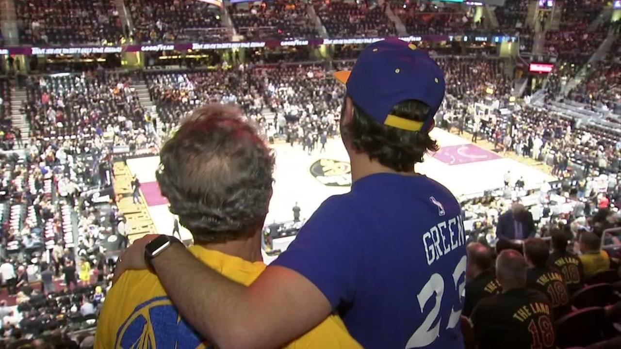 Ryan Hemlsteter and his father-in-law watch Game 4 of the NBA Finals in Cleveland, Ohio on Friday, June 8, 2018.
