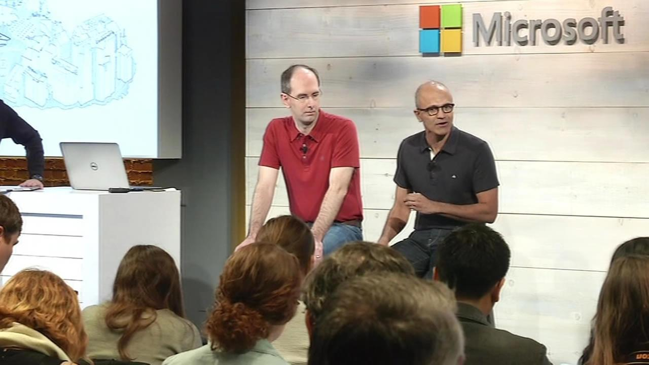 Microsoft CEO Satya Nadella speaks at a Bay Area event.